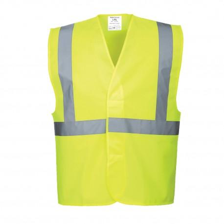 Gilet haute visibité baudrier de chantier avec bretelles jaune ou orange