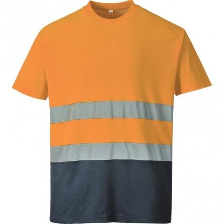 T-shirt coton haute visibilité bicolore