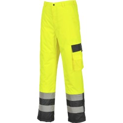 Pantalon Haute-Visibilité doublé bicolore contraste bas zippé