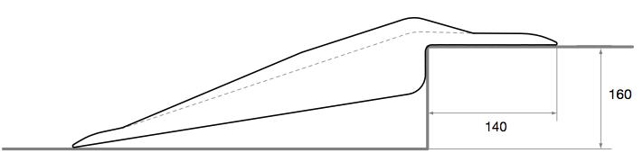 Rampe pour trottoir hauteur franchissable